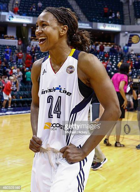 Tamika Catchings of the Indiana Fever reacts following the game against the Minnesota Lynx at Bankers Life Fieldhouse on October 11, 2015 in...