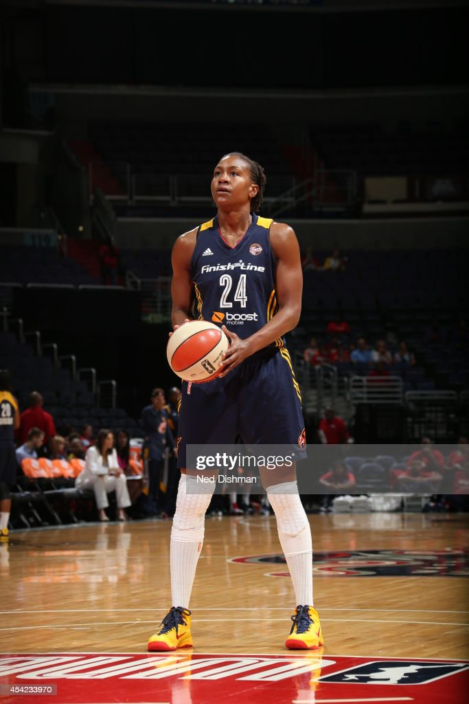 Tamika Catchings #24 of the Indiana Fever shoots a free throw against the Washington Mystics in Game Two of the Eastern Conference Semifinals during the 2014 WNBA Playoffs on August 23, 2014 at the Verizon Center in Washington, DC.