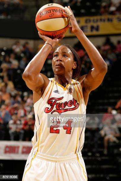 Tamika Catchings of the Indiana Fever shoots a free throw during the WNBA game against the Phoenix Mercury on September 14 2008 at Conseco Fieldhouse...
