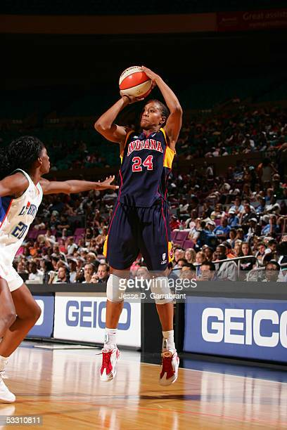 Tamika Catchings of the Indiana Fever shoots against the New York Liberty at Madison Square Garden on July 31 2005 in New York City NOTE TO USER User...