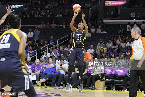 Tamika Catchings of the Indiana Fever shoots the ball against the Los Angeles Sparks during a WNBA basketball game at Staples Center on July 6 2016...