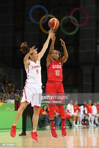 Tamika Catchings of United States attempts a shot over Laia Palau of Spain during the women's basketball game on Day 3 of the Rio 2016 Olympic Games...