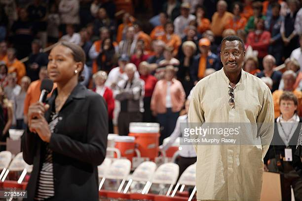 Tamika Catchings speaks to the crowd during a halftime ceremony retiring her college jersey December 7 2003 at ThompsonBoling Arena in Knoxville...