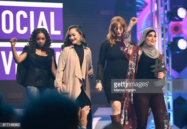Tamika D Mallory Carmen Perez Bob Bland and Linda Sarsour speak onstage during BET's Social Awards 2018 at Tyler Perry Studio on February 11 2018 in...