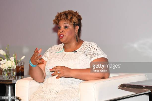 Tamika Felder speaks onstage at 'The Immortal Life Of Henrietta Lacks' Viewing Panel Discussion with Renee Elise Goldsberry Dr Jessica Shepherd Dr...