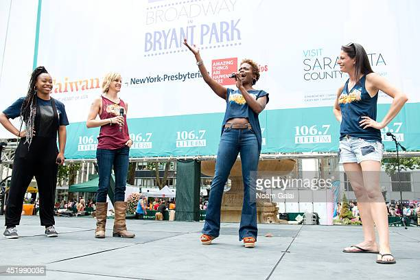Tamika Lawrence Jenn Colella LaChanze and Jackie Burns perform at 1067 LITE FM's Broadway In Bryant Park 2014 on July 10 2014 in New York City