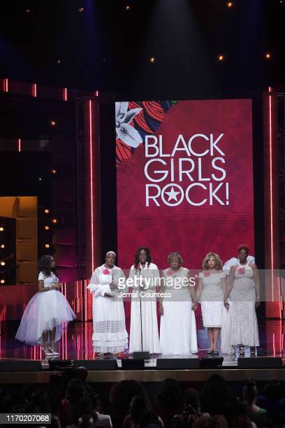 Tamika Mallory Cleopatra CowleyPendleton Sybrina Fulton Gwen Carr Lucy McBath and Maria Hamilton speak onstage at Black Girls Rock 2019 Hosted By...