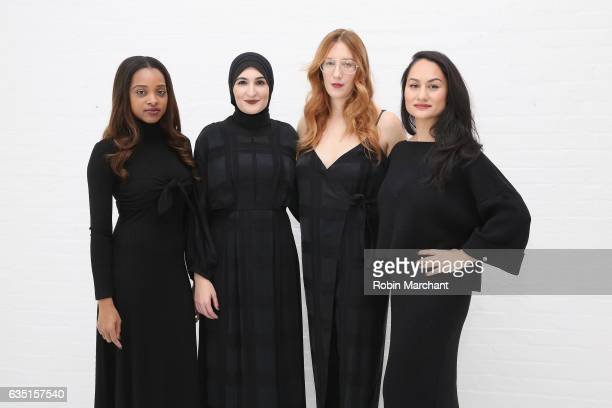 Tamika Mallory Linda Sarsour Bob Bland and Carmen Perez pose before the Mara Hoffman collection during New York Fashion Week The Shows at Shop...