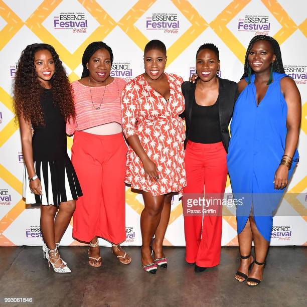Tamika Mallory Tarana Burke Symone Sanders Luvvie Ajayi and Yolanda Sangweni attend the 2018 Essence Festival presented by CocaCola at Ernest N...