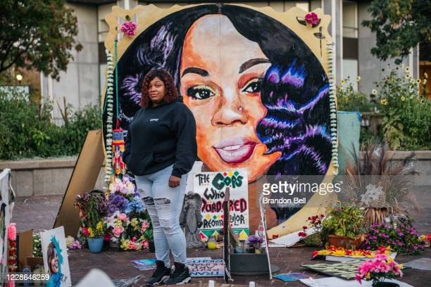 Tamika Palmer, mother of Breonna Taylor, poses for a portrait in front of a mural of her daughter at Jefferson Square park on September 21, 2020 in...