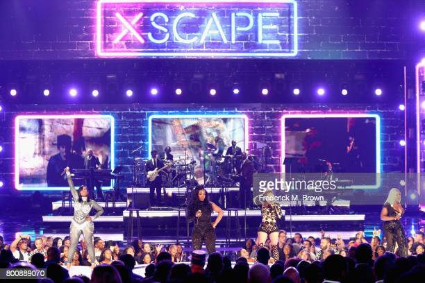 Tamika Scott Kandi Burruss Tameka Cottle and LaTocha Scott of Xscape perform onstage at 2017 BET Awards at Microsoft Theater on June 25 2017 in Los...