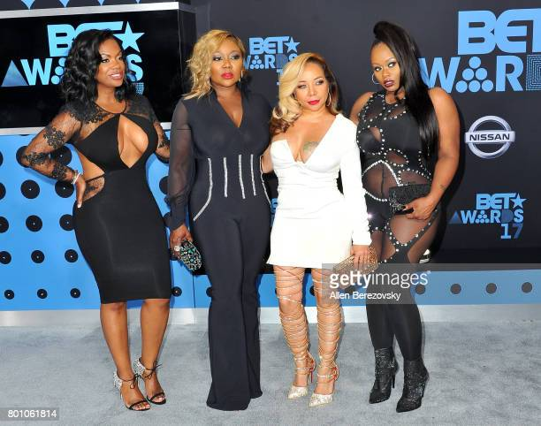 Tamika Scott Kandi Burruss Tameka Cottle and LaTocha Scott of Xscape arrive at the 2017 BET Awards at Microsoft Theater on June 25 2017 in Los...