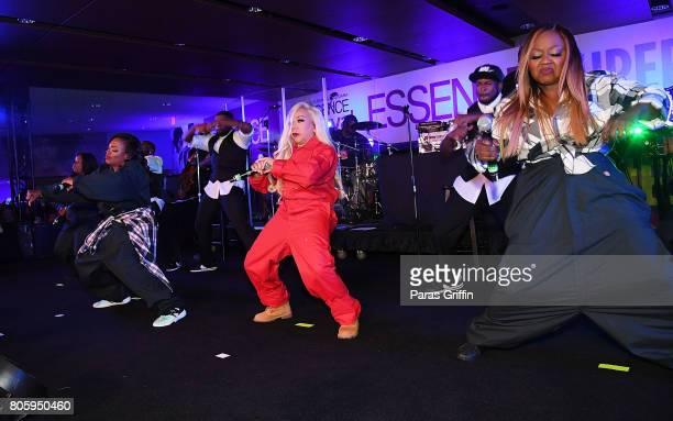 Tamika Scott, Kandi Burruss, Tameka 'Tiny' Harris, and LaTocha Scott of Xscape perform in concert at 2017 Essence Festival at Mercedes-Benz Superdome...