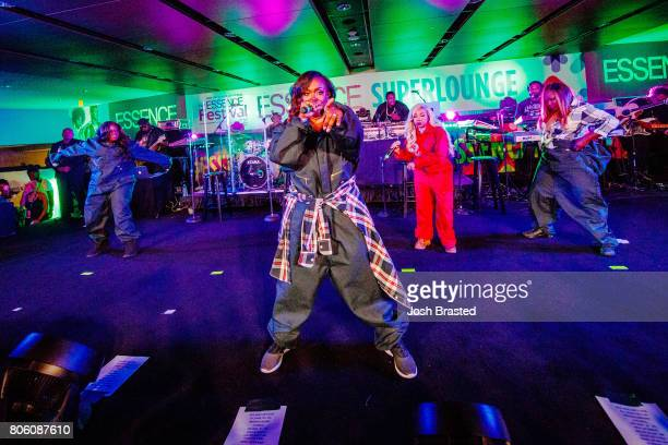 Tamika Scott Kandi Burruss Tameka 'Tiny' Harris and LaTocha Scott of Xscape perform in concert at the 2017 Essence Festival at MercedesBenz Superdome...