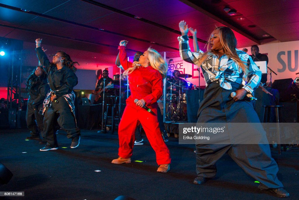 Tamika Scott, Kandi Burruss, Tameka 'Tiny' Harris, and LaTocha Scott of Xscape performperform onstage at the 2017 ESSENCE Festival Presented By Coca Cola at the Mercedes-Benz Superdome on July 2, 2017 in New Orleans, Louisiana.