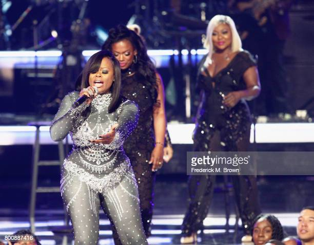 Tamika Scott LaTocha Scott and Tameka Cottle of Xscape perform onstage at 2017 BET Awards at Microsoft Theater on June 25 2017 in Los Angeles...