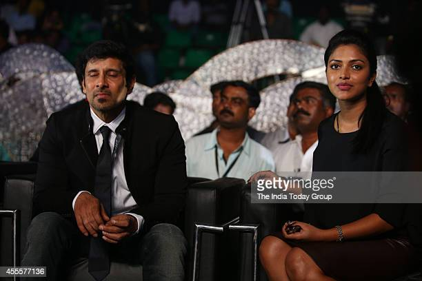 Tamil actor Vikram and actress Amy Jackson during the audio launch of the Tamil film I in Chennai