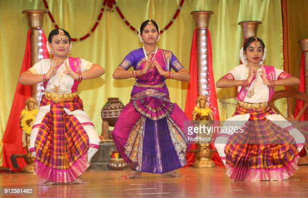 Tamil Bharatnatyam dancer performs a traditional dance during a cultural program celebrating Tamil Heritage Month and the Festival of Thai Pongal in...