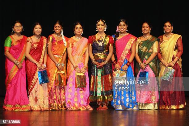 Tamil Bharatnatyam dancer poses for a photo with her friends following her performance during her Arangetram in Brampton Ontario Canada The...