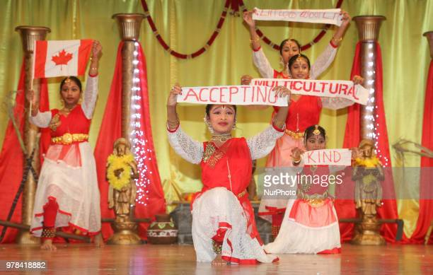 Tamil Bharatnatyam dancers celebrate the 'Canadian values' of acceptance kindness and multiculturalism while performing a fusion dance mixing...