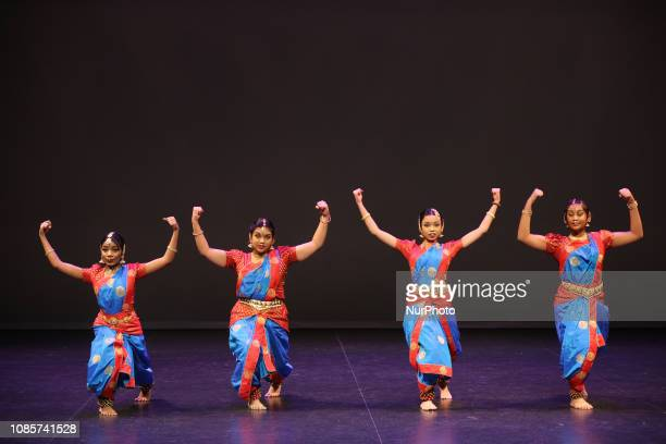 Tamil Bharatnatyam dancers perform a traditional dance during a cultural program celebrating the Thai Pongal Festival in Markham Ontario Canada on...