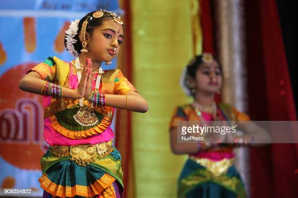 Tamil Bharatnatyam dancers perform a traditional dance during a cultural program celebrating the Thai Pongal Festival in Mississauga Ontario Canada...