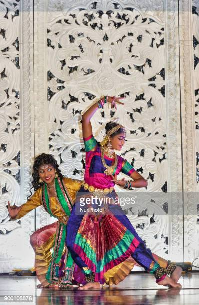 Tamil Bharatnatyam dancers perform an expressive dance in Scarborough Ontario Canada
