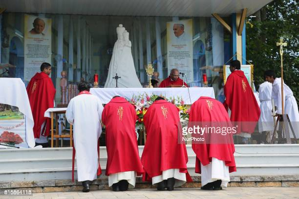 Tamil Catholic priests perform prayers during the Feast of Our Lady of Madhu as part of a special pilgrimage in Ontario Canada on July 15 2017