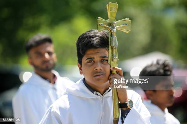 Tamil Catholics participate in prayers during the Feast of Our Lady of Madhu as part of a special pilgrimage in Ontario Canada on July 15 2017