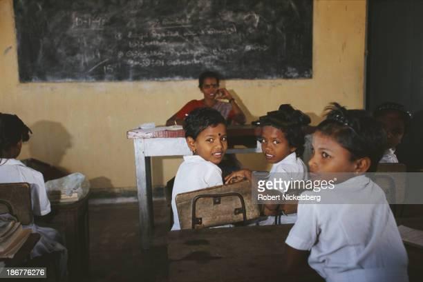 Tamil children at a school in LTTE controlled Kokkadichcholai Sri Lanka circa 1995