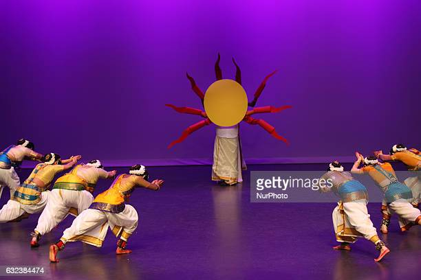 Tamil dancers perform a dance honoring the Sun God during the Thai Pongal festival in Markham Ontario Canada on January 15 2017 The festival of Thai...