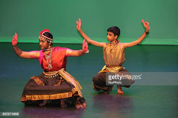 Tamil dancers perform a traditional dance during the Thai Pongal festival in Markham Ontario Canada on January 15 2017 The festival of Thai Pongal is...