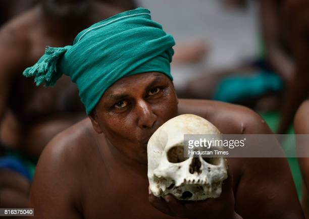 Tamil farmers during their protest for loan waiver and droughtrelief package at Jantar Mantar on July 17 2017 in New Delhi India