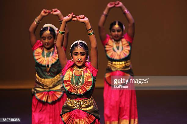 Tamil girls perform a classical Bharatnatyam dance during the Thai Pongal festival in Markham Ontario Canada on January 15 2017 The festival of Thai...