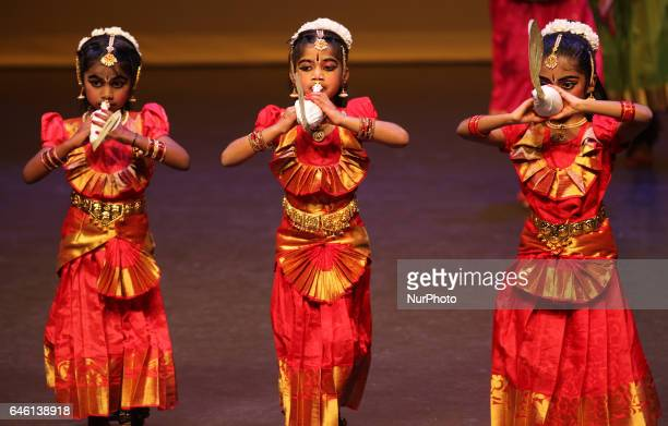Tamil girls perform a traditional dance during the Thai Pongal festival in Markham Ontario Canada on January 15 2017 The Tamil festival of Thai...