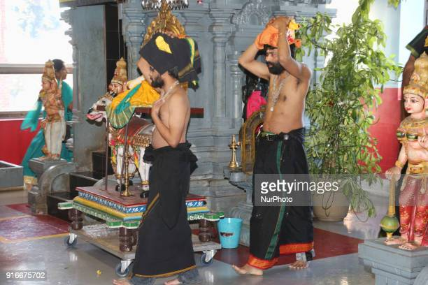 Tamil Hindu devotees carry coconuts filled with ghee on their heads to be offered to Swamy Ayyappa as part of special rituals during the 41day...