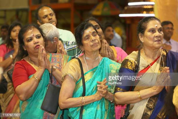 Tamil Hindu devotees offer prayers at a Tamil Hindu temple during Puthandu in Ontario, Canada, April 14, 2019.