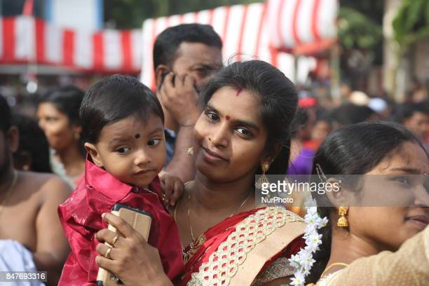 Tamil Hindu devotees take part in the Ther Festival at the Nallur Kandaswamy Kovil in Jaffna Sri Lanka on August 21 2017 Hundreds of thousands of...