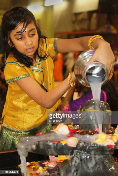 Tamil Hindu girl offers prayers by pouring milk over a Shiva Lingam during the Maha Shivratri festival at a Tamil Hindu temple in Ontario Canada on...
