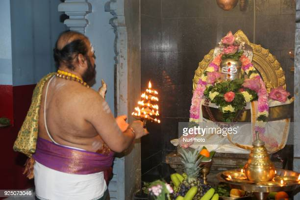 Tamil Hindu priest performs special prayers honoring Lord Shiva during the Maha Shivratri festival at a Tamil Hindu temple in Ontario, Canada, on...