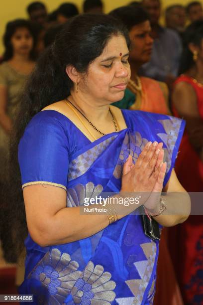 Tamil Hindu woman offers prayers to Lord Shiva during the Maha Shivratri festival at a Tamil Hindu temple in Ontario Canada on February 13 2018 Maha...