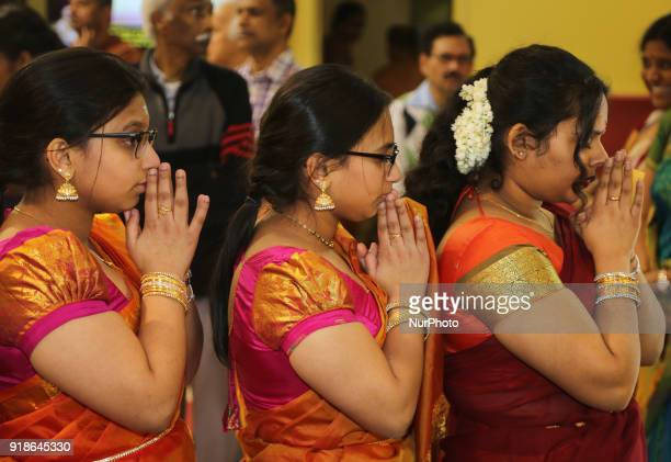 Tamil Hindu women offer prayers to Lord Shiva during the Maha Shivratri festival at a Tamil Hindu temple in Ontario Canada on February 13 2018 Maha...
