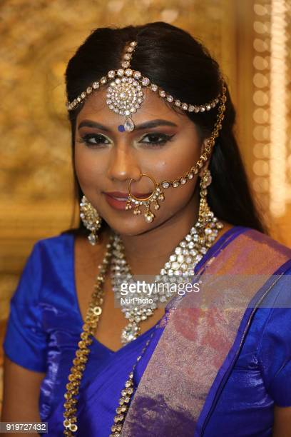 Tamil model wearing an exquisite outfit during a South Indian and Tamil bridal show held in Toronto Ontario Canada on February 17 2018