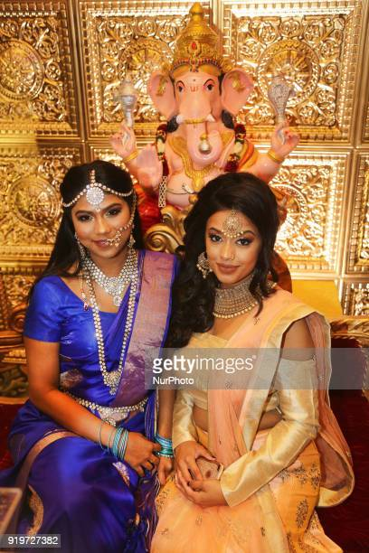 Tamil models wearing exquisite outfits during a South Indian and Tamil bridal show held in Toronto Ontario Canada on February 17 2018