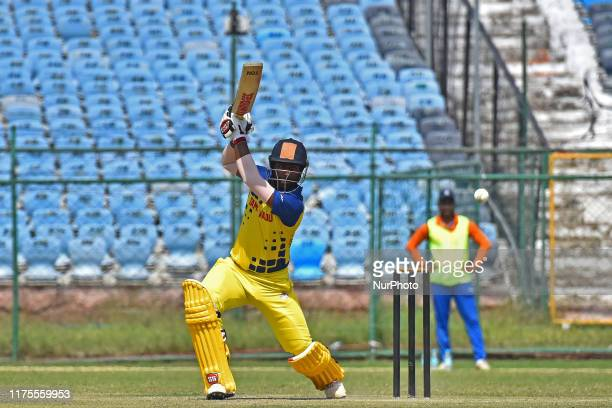Tamil Nadu Batsman Abhinav Mukund plays a shot during the Vijay Hazare Trophy match against Madhya Pradesh at SMS Stadium in JaipurRajasthanIndia Oct...