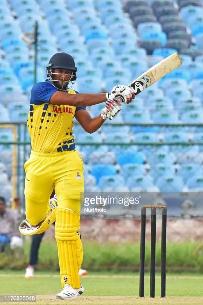Tamil Nadu batsman Shahrukh Khan plays a shot during the Vijay Hazare Trophy match against Rajasthan at SMS Stadium in Jaipur,Rajasthan, India, Sept...