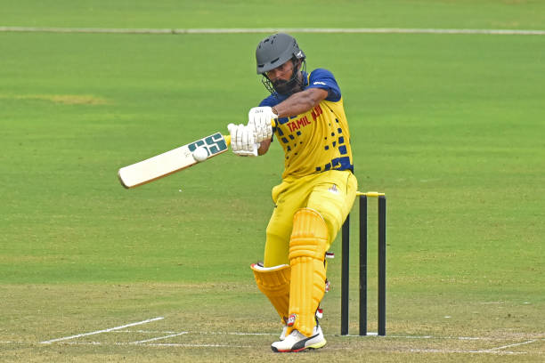Tamil Nadu captain Dinesh Karthik plays a shot during Vijay Hazare Trophy match against Bengal at Jaipuriya Cricket Ground in Jaipur Rajasthan India...