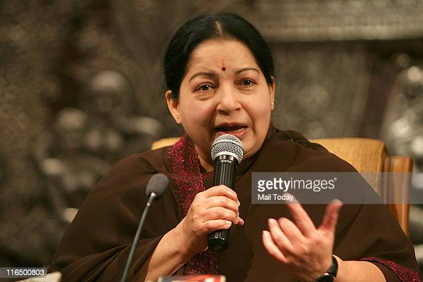 Tamil Nadu Chief Minister and AIADMK cheif J Jayalalithaa addressing a press conference in New Delhi on June 142011