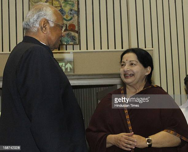 Tamil Nadu Chief Minister J Jayalalitha talking with Union Agriculture Minister Sharad during the 57th National Development Council meeting on...
