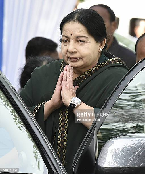 Tamil Nadu Chief Minister J Jayalalithaa after her meeting with MPs of her party seen leaving for her meeting with Prime Minister Narendra Modi at...